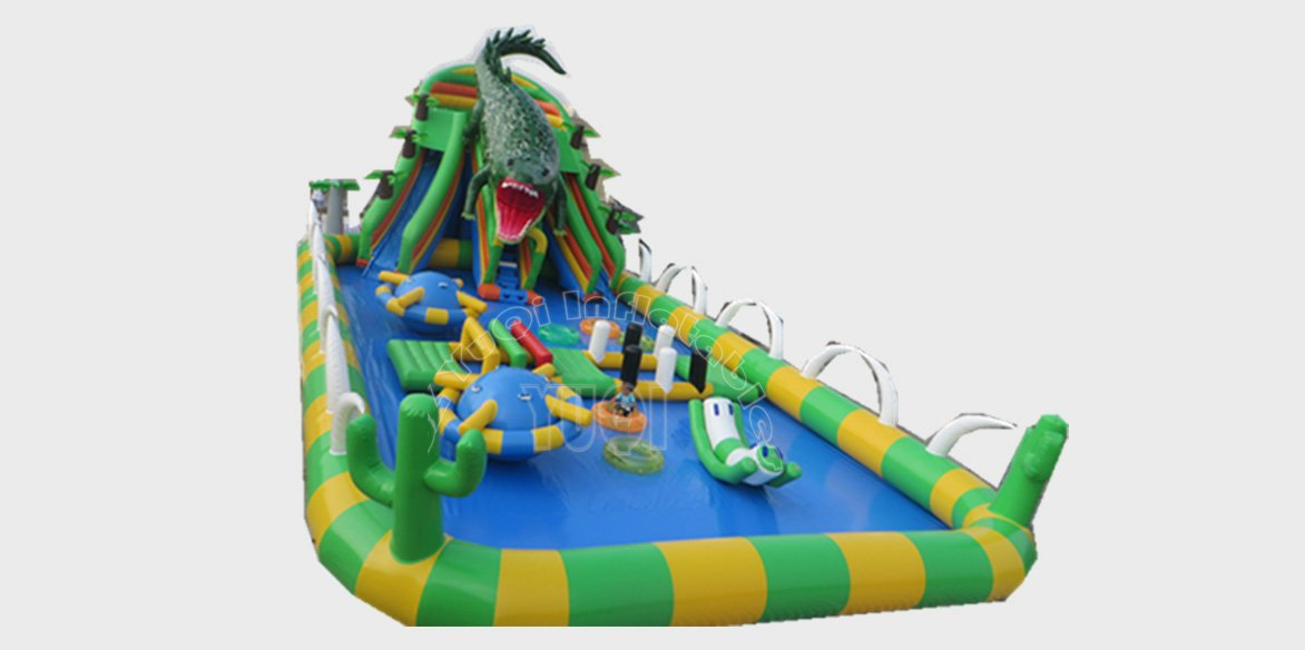 YUQI-Outdoor Inflatable Water Fun Park With Pool,Large Pvc Crocodile