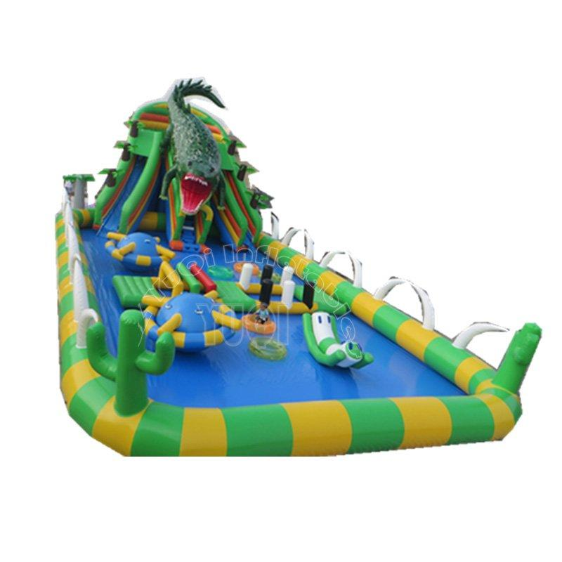 Outdoor giant inflatable water park with pool,Crocodile large PVC inflatable land water park for kids and adult YQ75