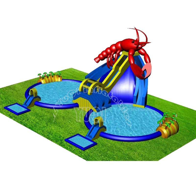 Commercial inflatable water park equipment with slide and pool for outdoor land YQ76