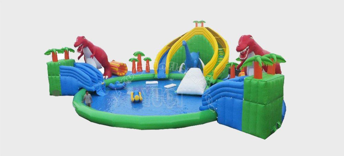 YUQI-Giant Dinosaur Theme Inflatable Land Floating Water Park