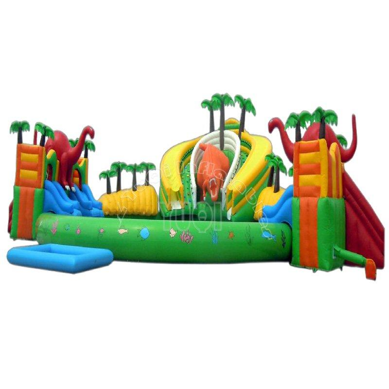 Dinosaur theme inflatable water park with pool for kid