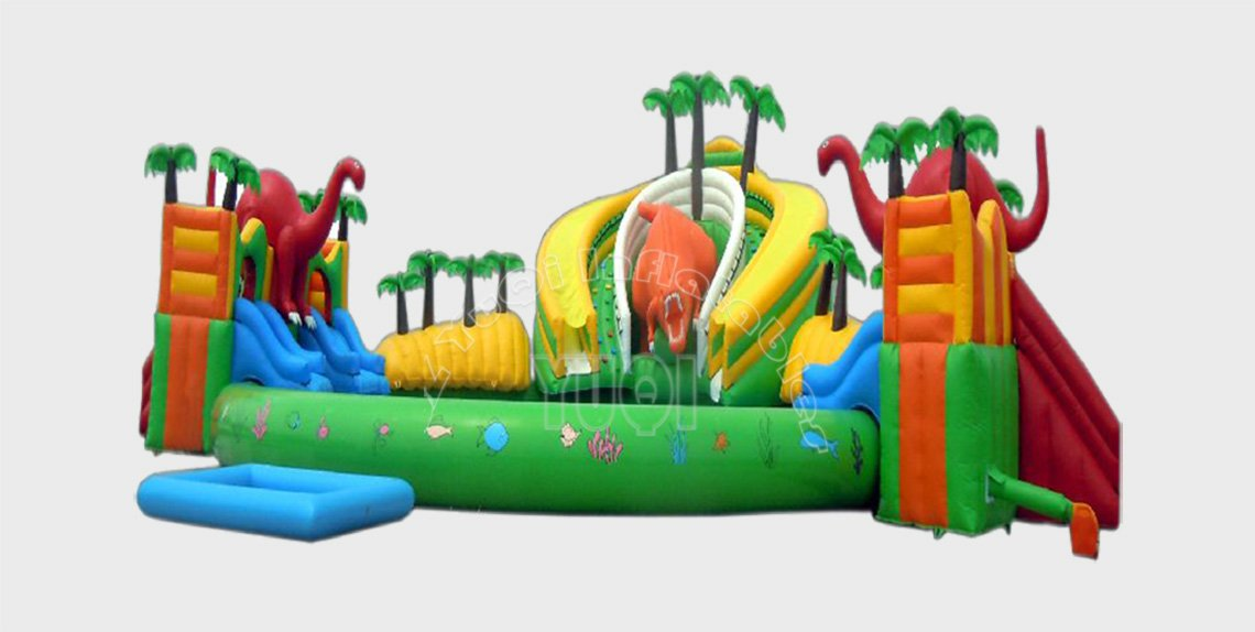 YUQI-Dinosaur Theme Inflatable Water Fun Park With Pool For Kid
