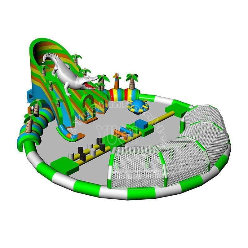 inflatable water park  popular crocodile aquapark-big round swim pool water slides