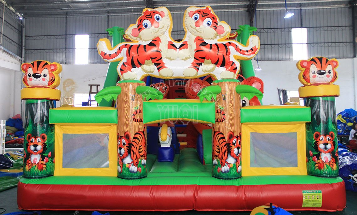 YUQI-Tiger Inflatable Amusement For Sale Integrated Giant Combo Bouncer