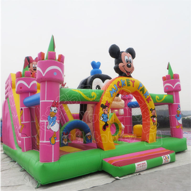 YQ611 Beautiful Mickey mouse inflatable bouncy castle kids inflatable amusement park fun city for sale