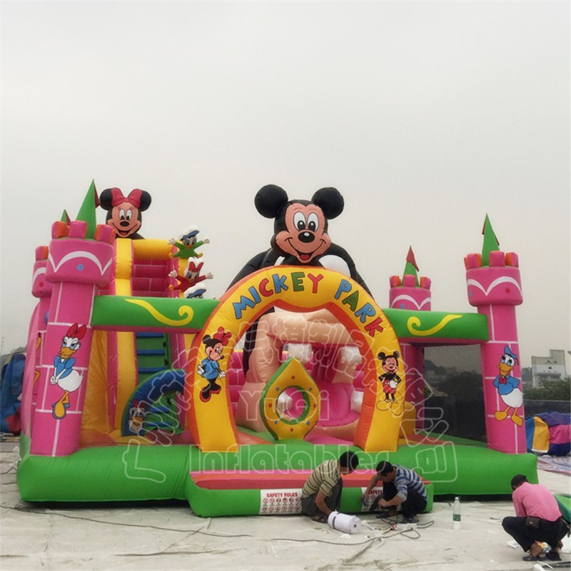 YUQI-Beautiful Mickey Mouse Amusement Park Inflatable Slide For Kids-1