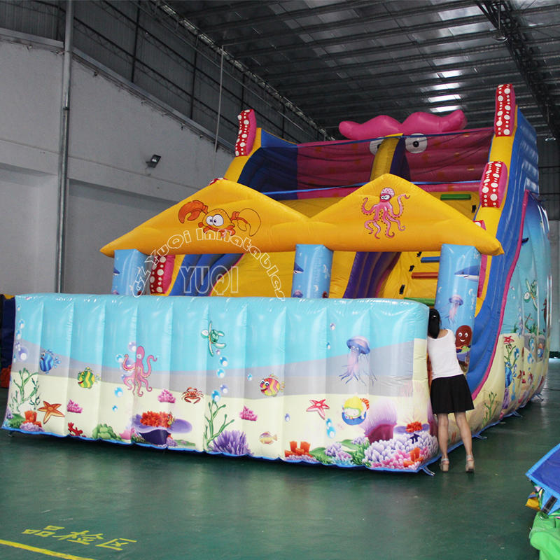YQ19 New Style Sewing PVC Inflatable Octopus Slide Giant Inflatable Slide