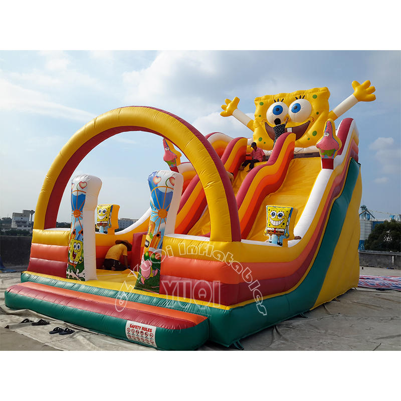 YQ323 0.55mm PVC tarpaulin double lane bouncy castle cartoon inflatable slide for sale