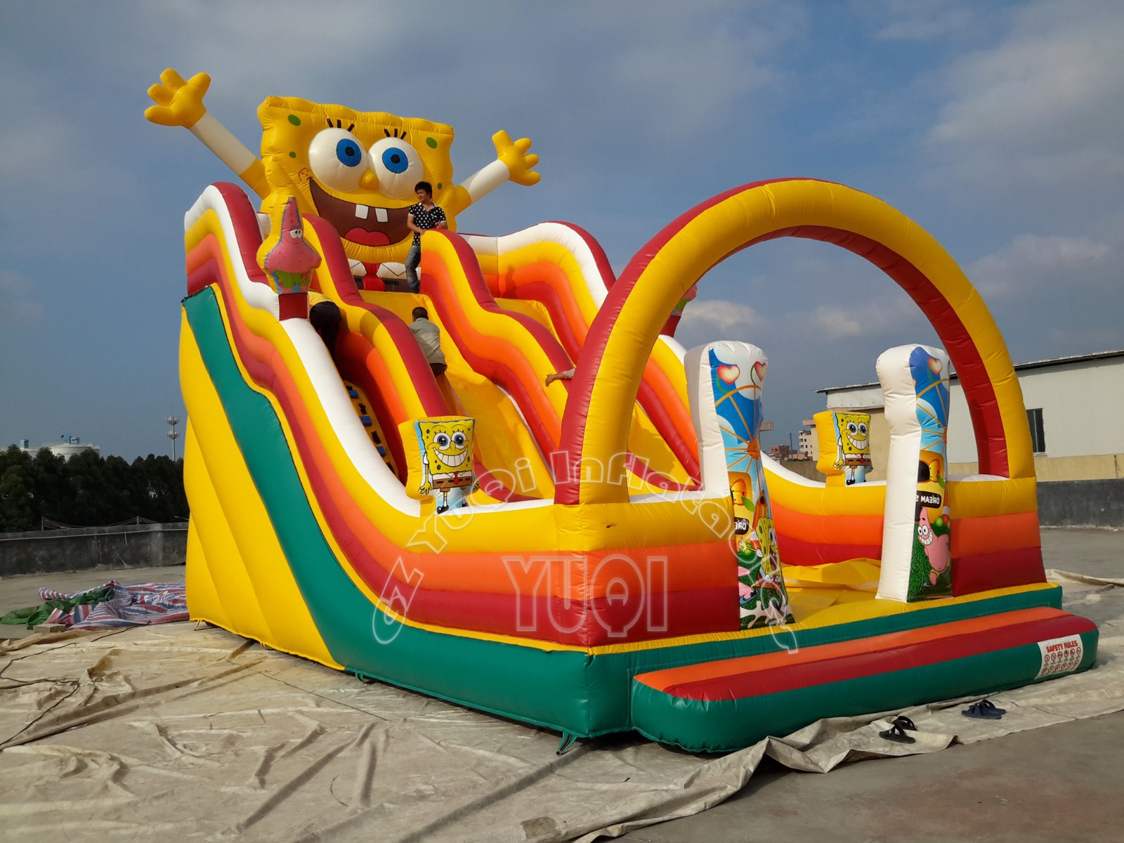 YUQI-Yq323 Pvc Tarpaulin Double Lane Bouncy Inflatable Slide