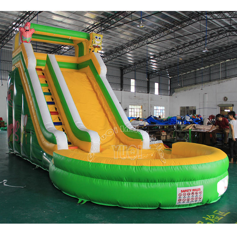 YQ331 Commercial Inflatable Water Slides With Ground Pool,