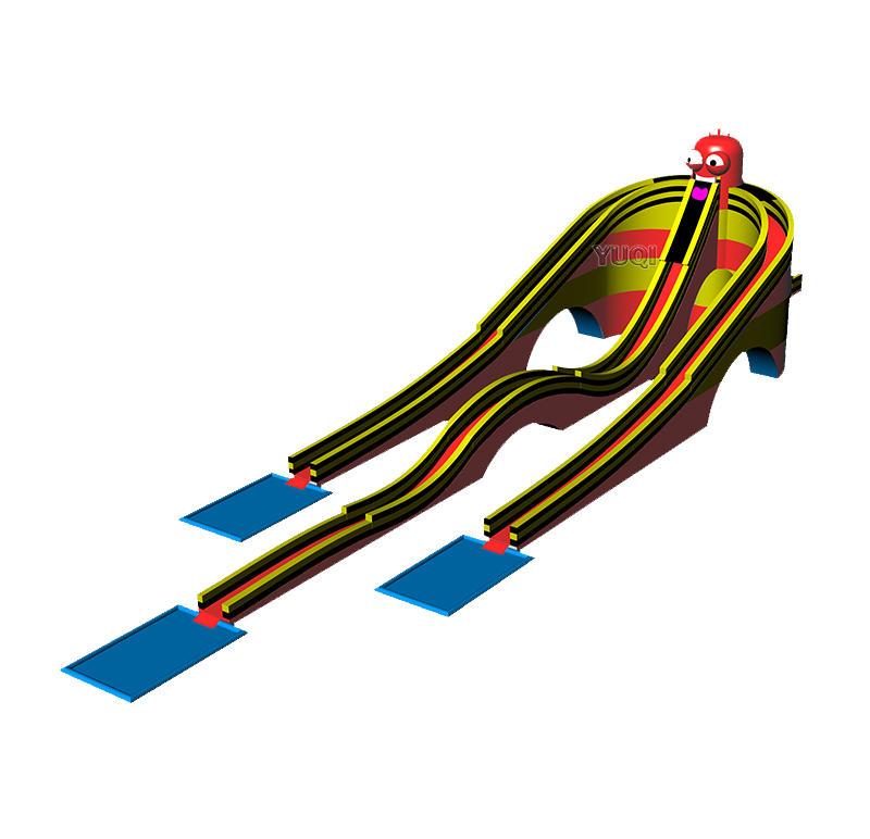 Adult Giant inflatable triple water pool slide bouncing slide