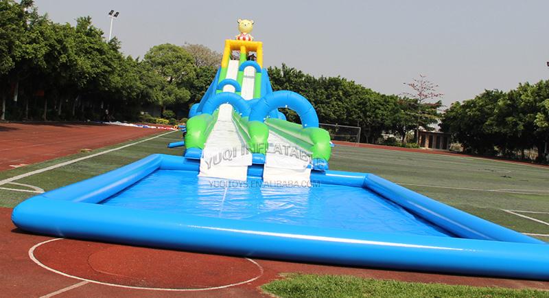 YUQI-Adult Giant Inflatable Triple Water Pool Slide Bouncing Slide-6
