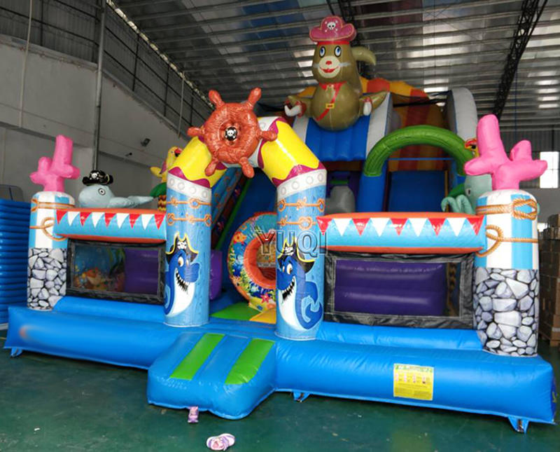 Commercial amusement park Inflatable pirate slide | inflatable sea world bouncing  jumping slide,