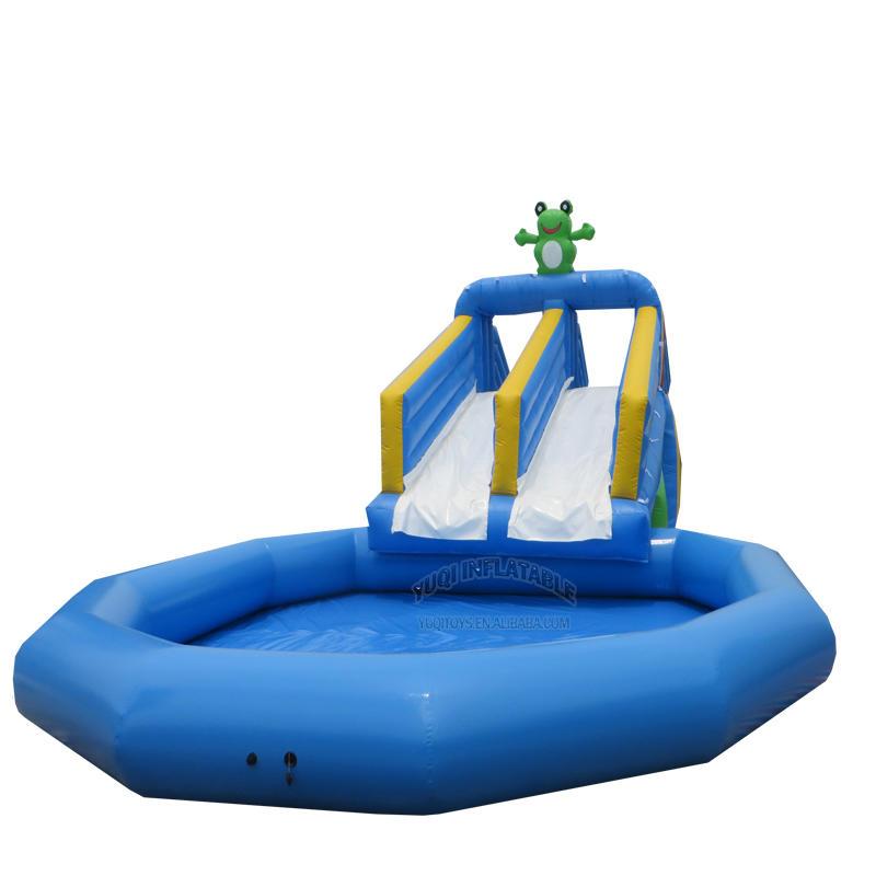 YUQI Amusement park frog theme inflatable splah dual lane water pool side slide