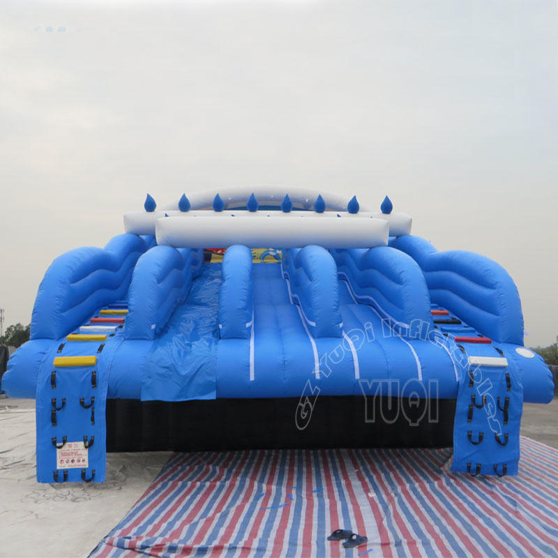 inflatable dual climbing slide water slide to the side of pool