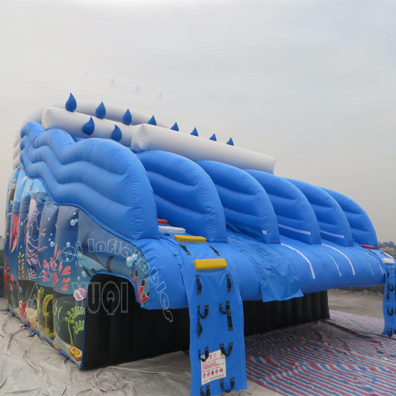 YUQI Amusement park seaworld adult inflatable dual climbing slide water slide to the side of pool