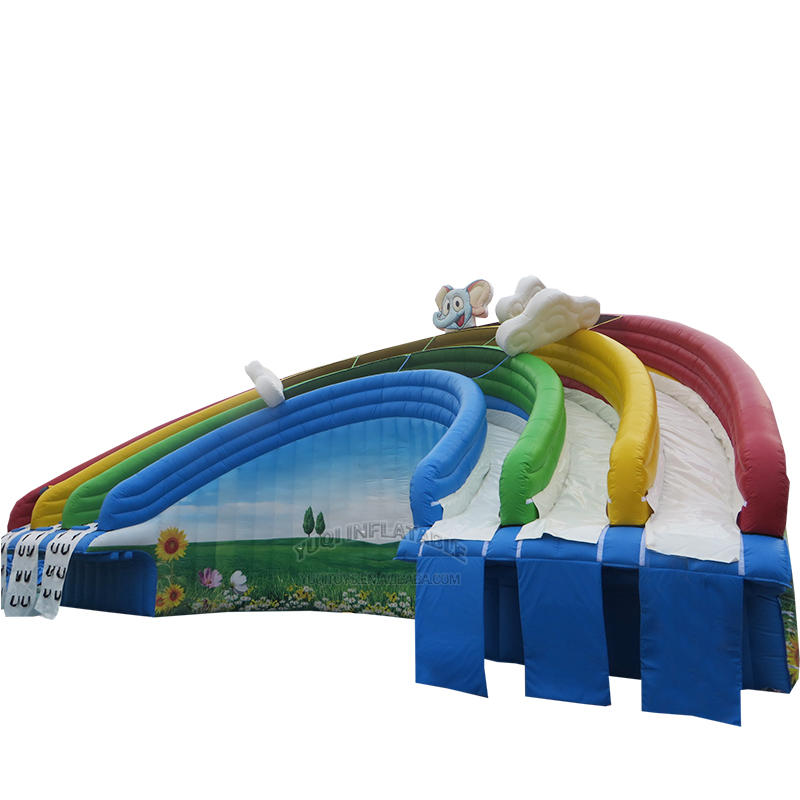 YUQI Amusement park inflatable land triple splash water slide with pool