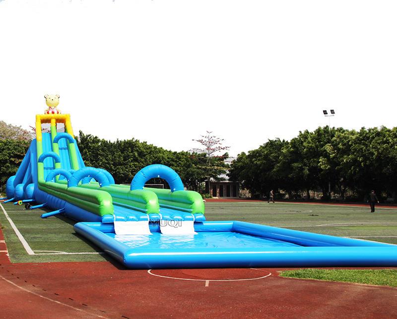 Giant adult inflatale dual slip splash water slide with pool