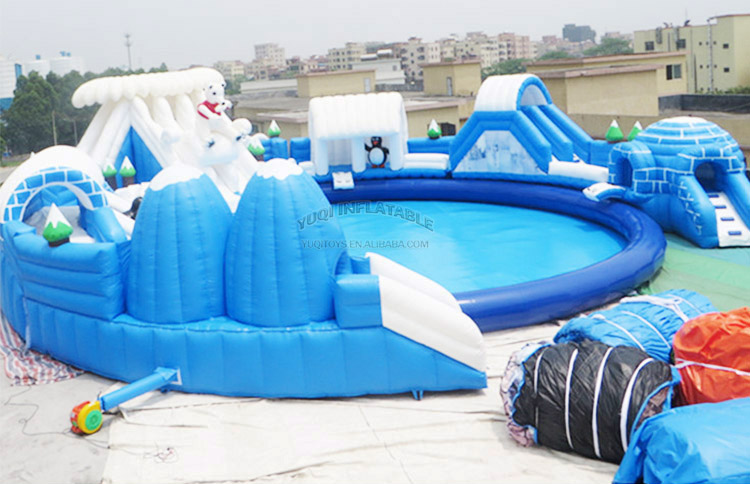 YUQI-YUQI Amusement inflatable iceage splash water bouncing pool park