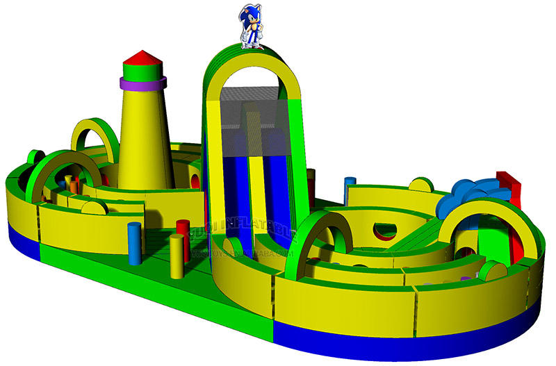 castle slide challenge obstacle course bouncing slide combo play park
