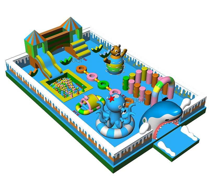 YUQI-YUQI Amusement play inflatable shark octopus bouncing slide park-12
