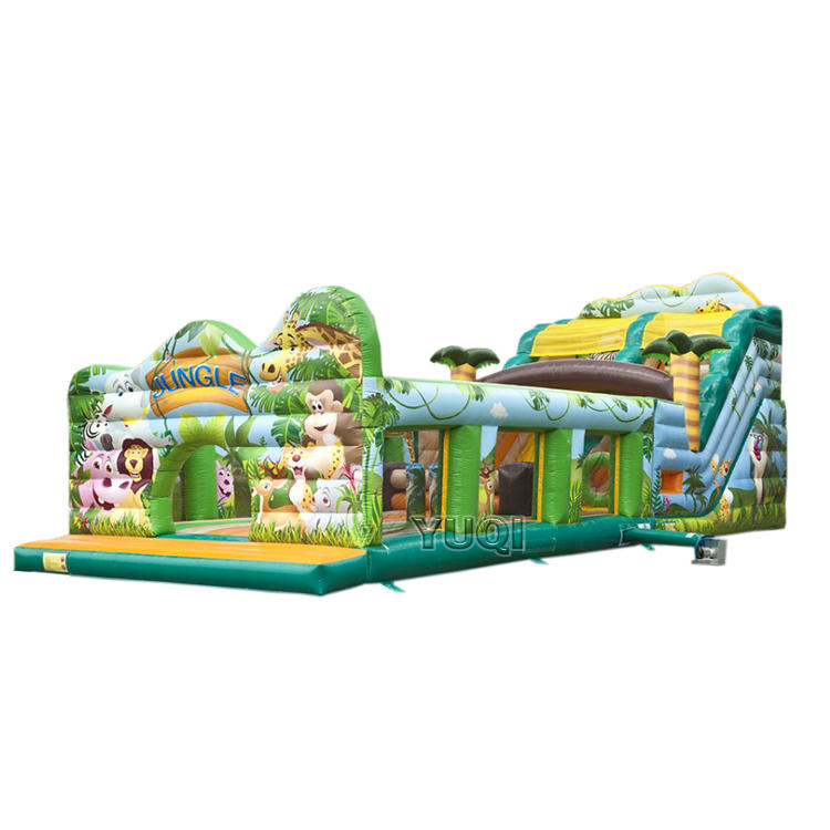 inflatable jungle adventure bouncing climbing slide combo playground