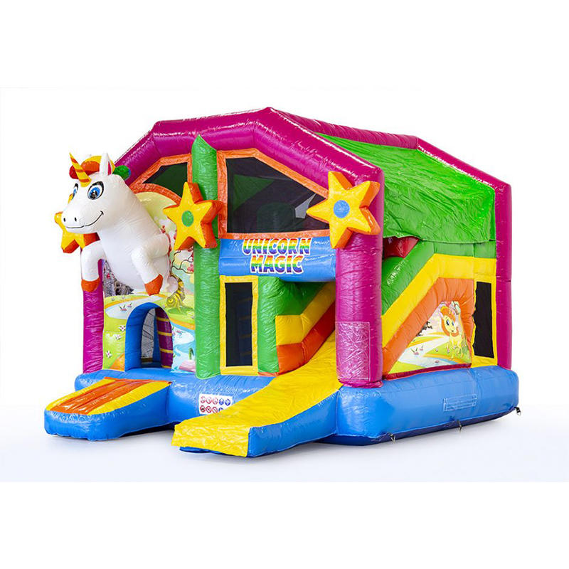 YUQI inflatable bouncer slide combo inflatable Unicorn bouncer for kids