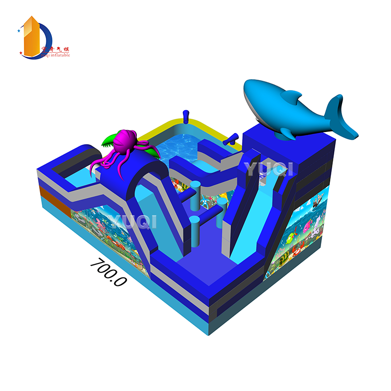YUQI Shark inflatable water land park inflatable slide with pool