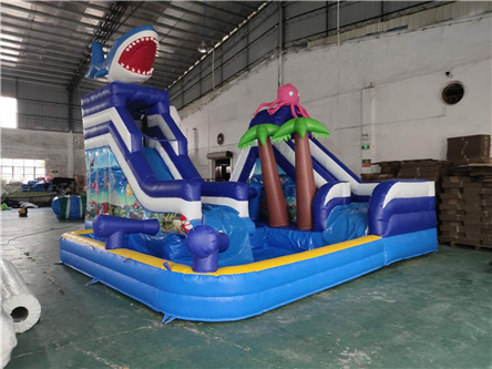 product-YUQI-YUQI Shark inflatable water land park inflatable slide with pool-img