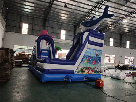 product-YUQI Shark inflatable water land park inflatable slide with pool-YUQI-img