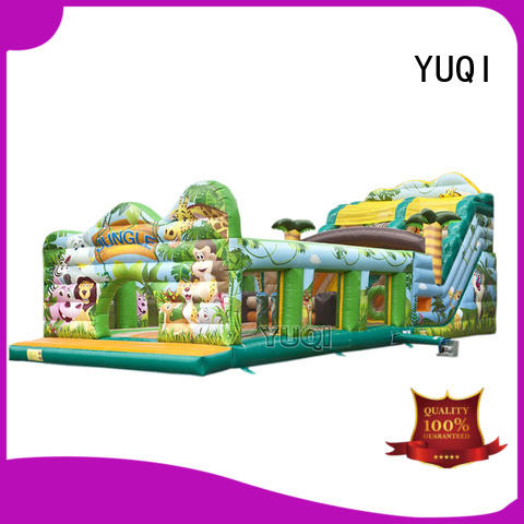 YUQI crazy inflatable assault course Supply for birthday parties